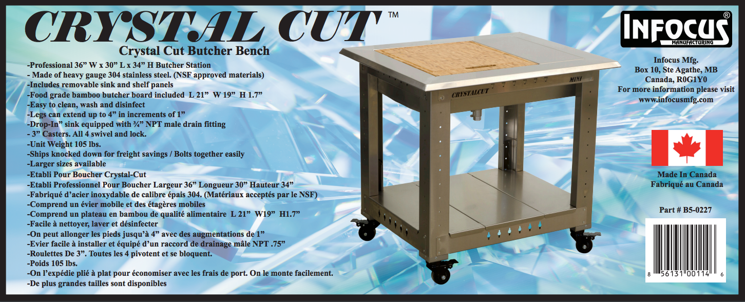 Crystal Cut Butcher Bench Infocus Manufacturing